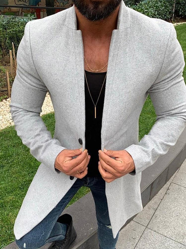 Button Plain Mid-Length Casual Straight Coat