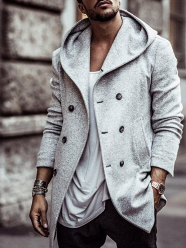 Pocket Hooded Plain Single Fall Trench Coat