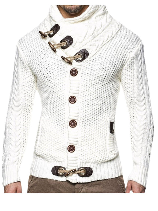 Plain Standard Button European Slim Sweater