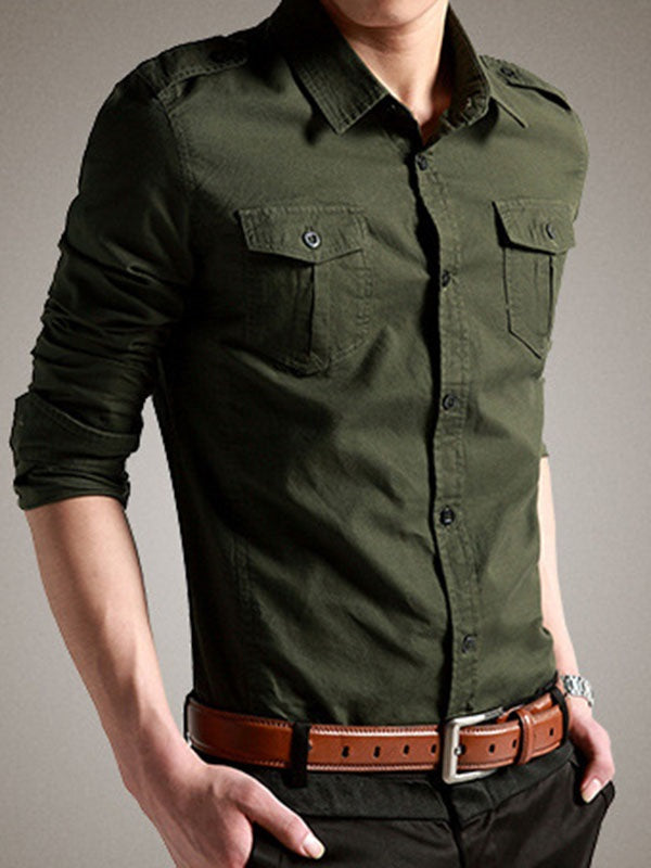 Plain Casual Pocket Single-Breasted Slim Shirt