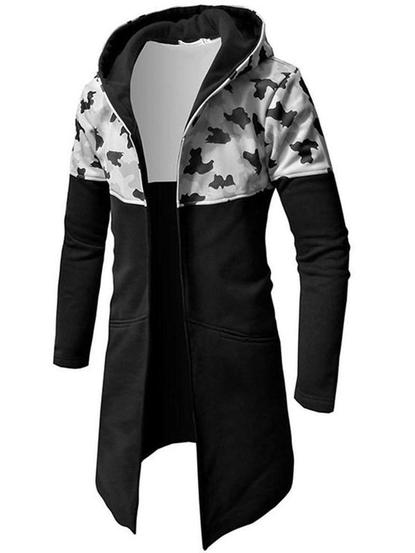 Hooded Patchwork Long Slim Fall Trench Coat