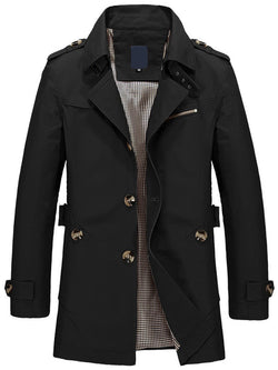 Plain Mid-Length Stand Collar Single-Breasted Slim Trench Coat