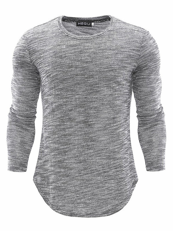 Asymmetric Round Neck Casual Slim Long Sleeve T-shirt