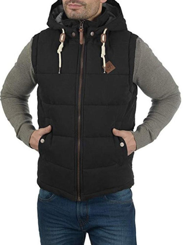 Hooded Plain Zipper Fall Waistcoat