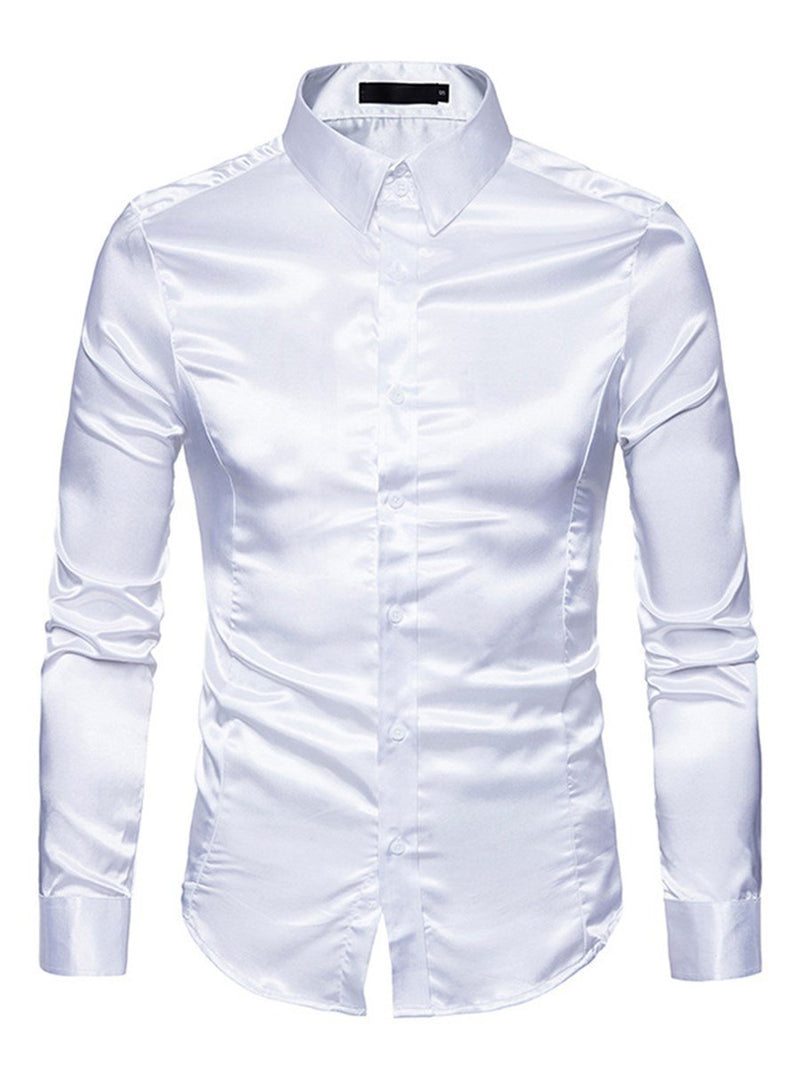 Lapel Plain Slim Spring Shirt