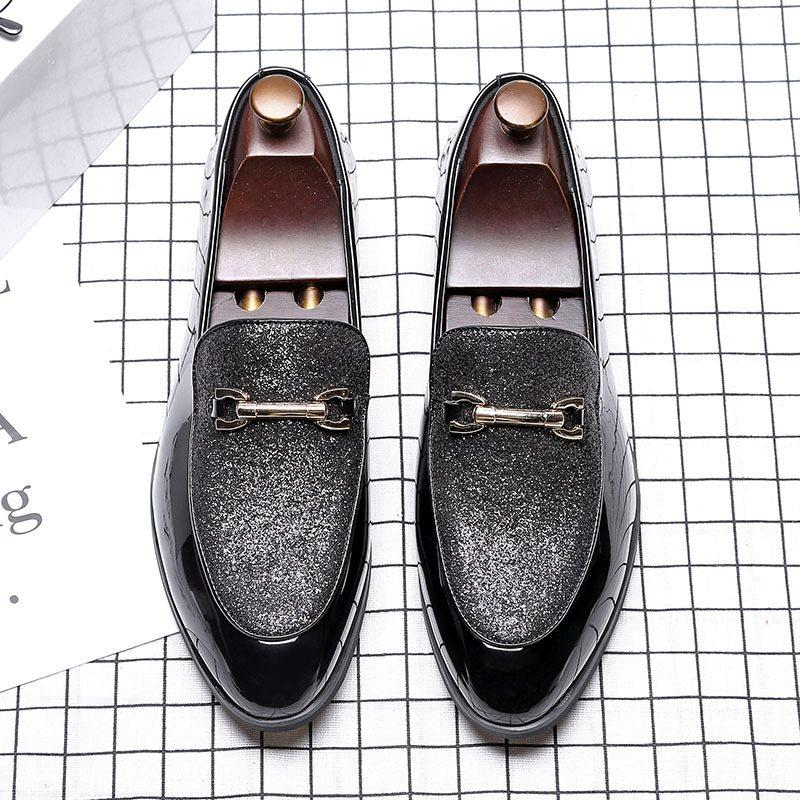 Plain Low-Cut Upper PU Pointed Toe Leather Shoes
