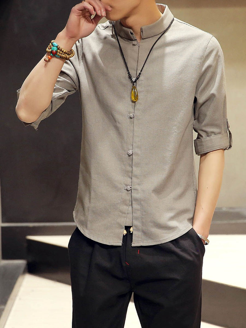 Stand Collar Plain Slim Single-Breasted Shirt