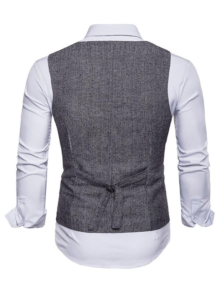 Pocket Plain Stand Collar Single-Breasted Spring Waistcoat