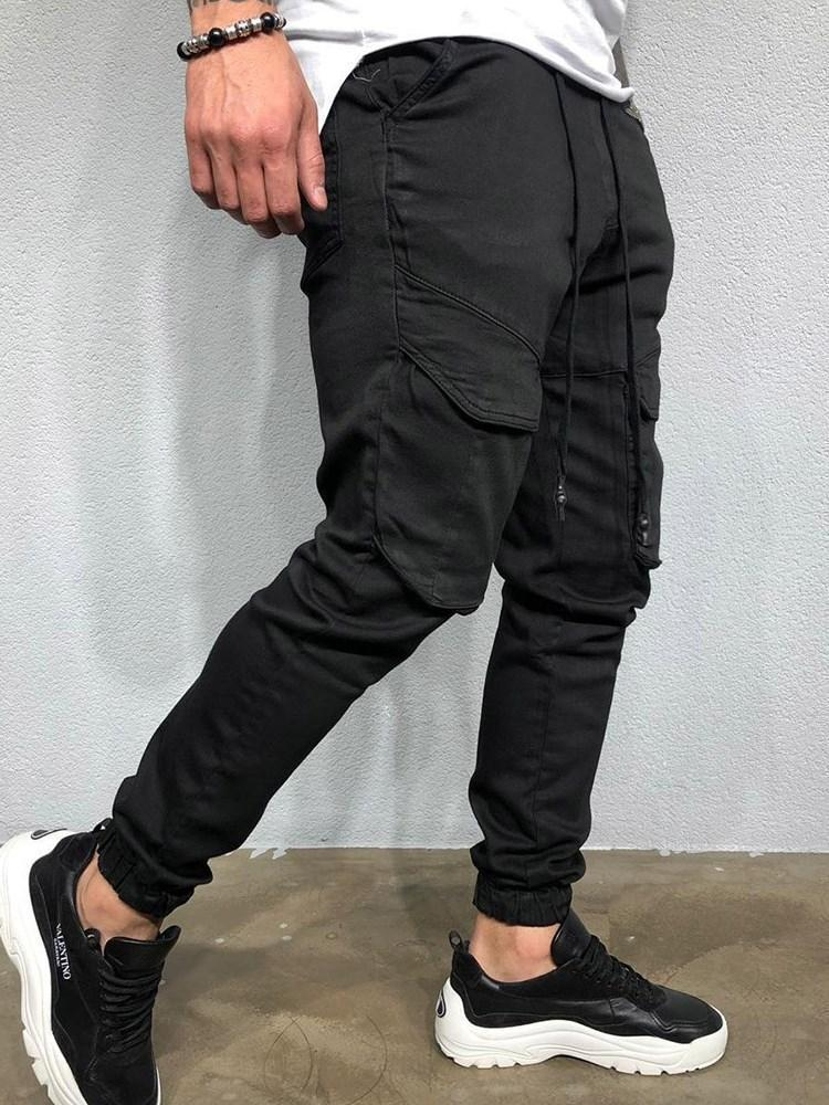 Lace-Up Overall Plain Lace-Up European Casual Pants
