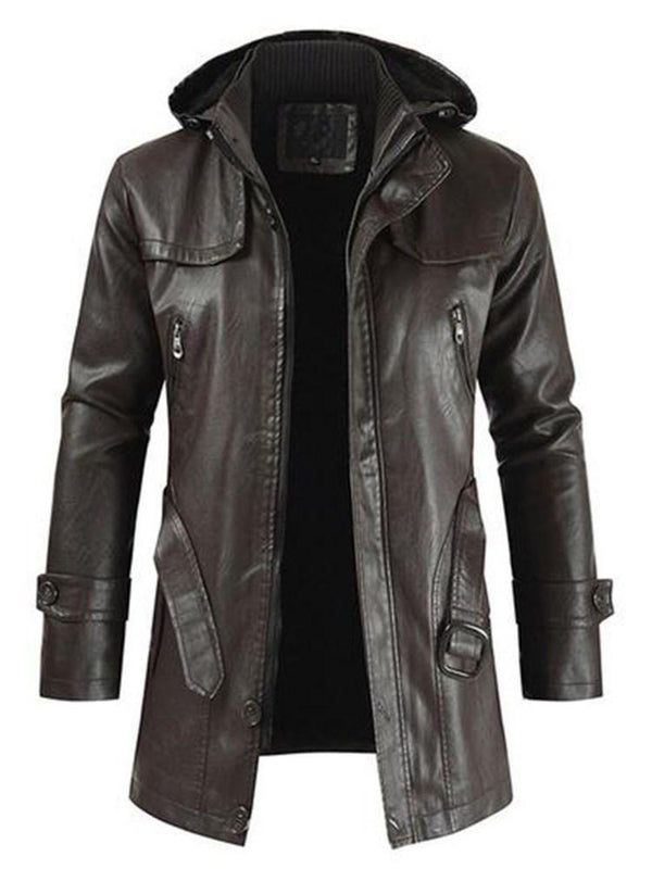Hooded Mid-Length Plain Slim Button Leather Jacket
