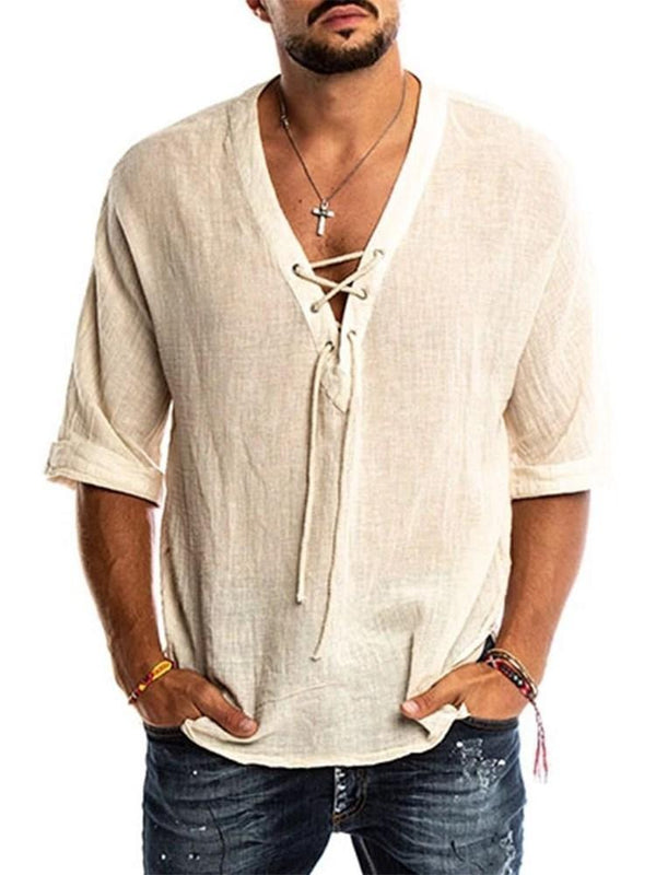 Plain V-Neck Casual Summer Loose Shirt
