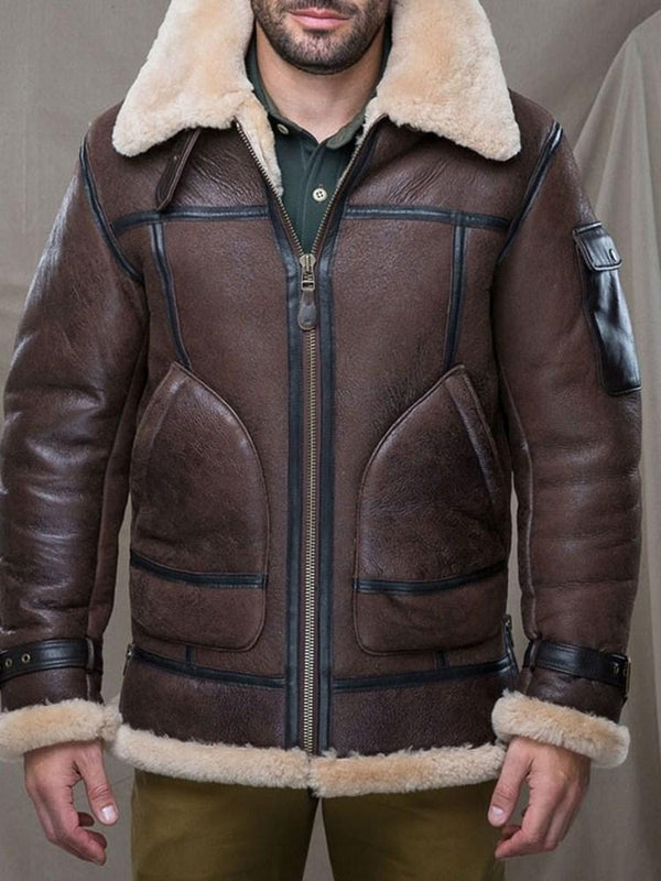 Standard Lapel Color Block Slim Winter Leather Jacket