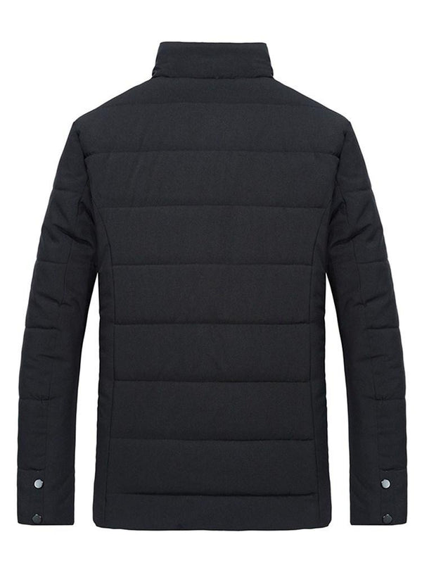 Standard Lapel Plain Zipper Down Jacket