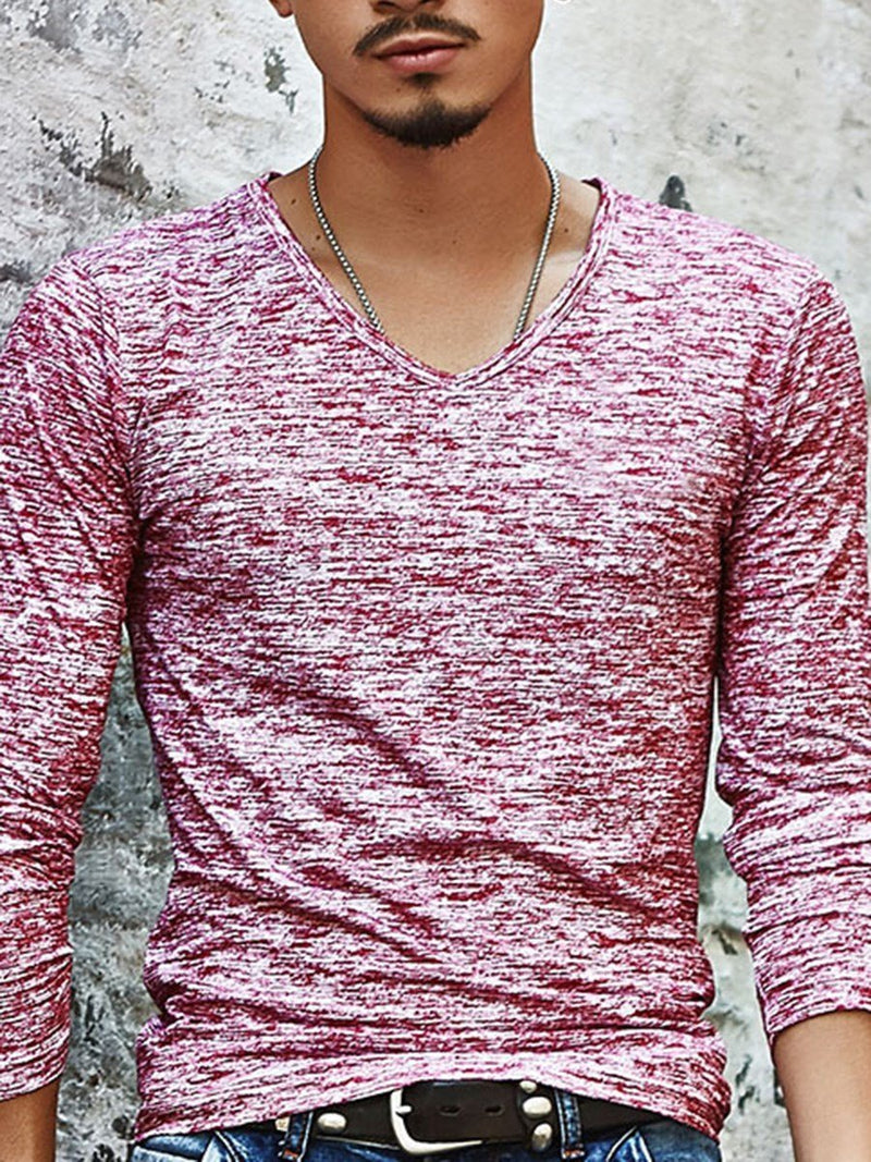 Color Block Print V-Neck Slim Long Sleeve T-shirt