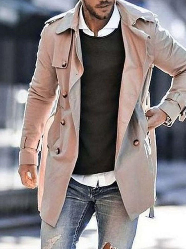 Mid-Length Pocket Plain Loose Single Trench Coat