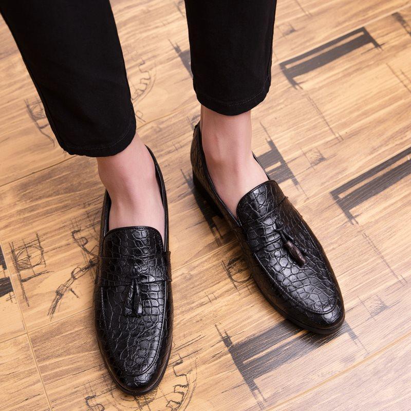 Low-Cut Upper Flat With Round Toe Microfiber Leathe Leather Shoes