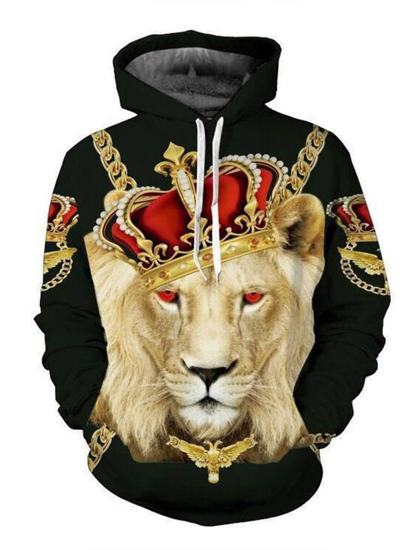 Animal Print Pullover Loose Hooded Hoodies