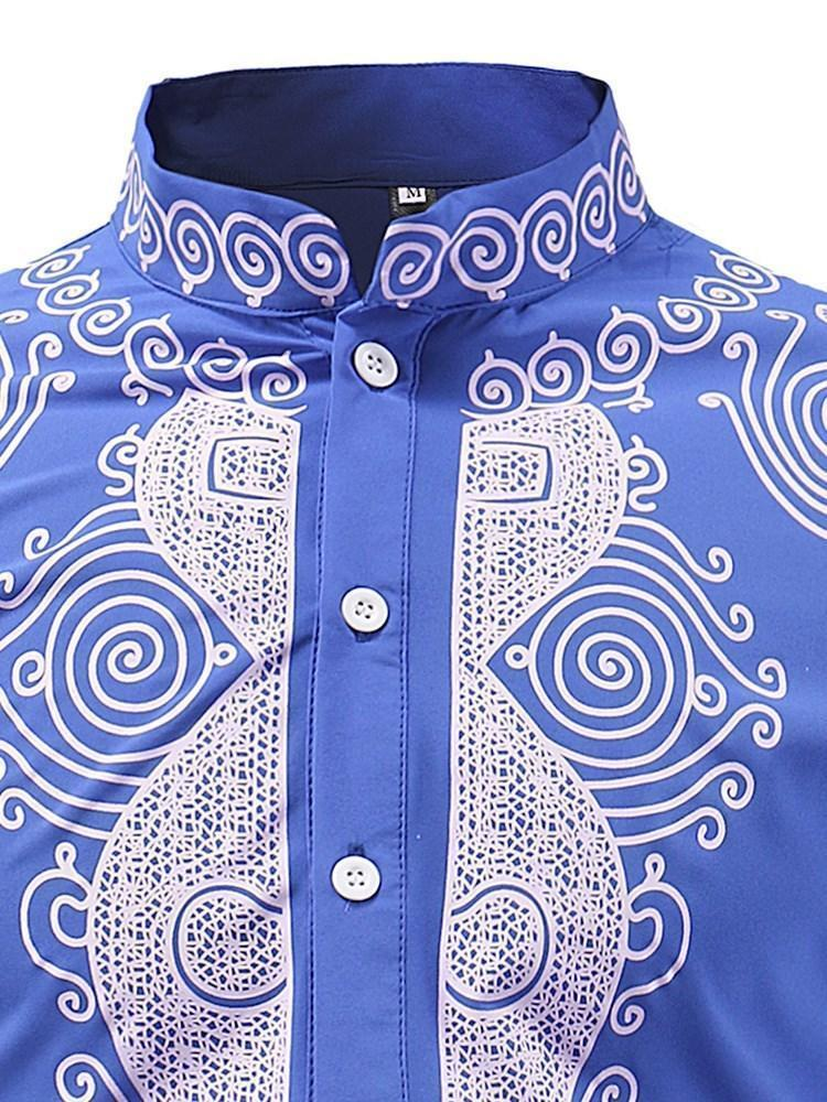 African Ethnic Style Stand Collar Print Fall Loose Shirt