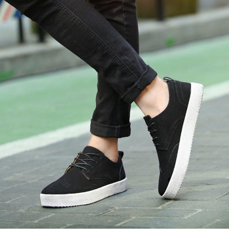 Plain Low-Cut Upper Nubuck Leather Round Toe PU Leather Shoes