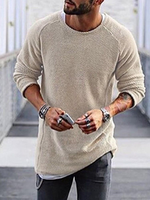 Round Neck Plain Standard Spring Casual Sweater