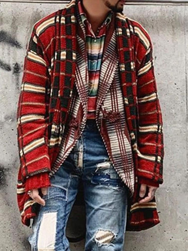 Mid-Length Plaid Fall Loose Sweater