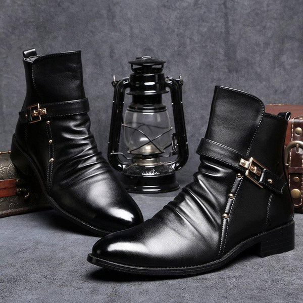 Plain Round Toe Side Zipper PU Boots