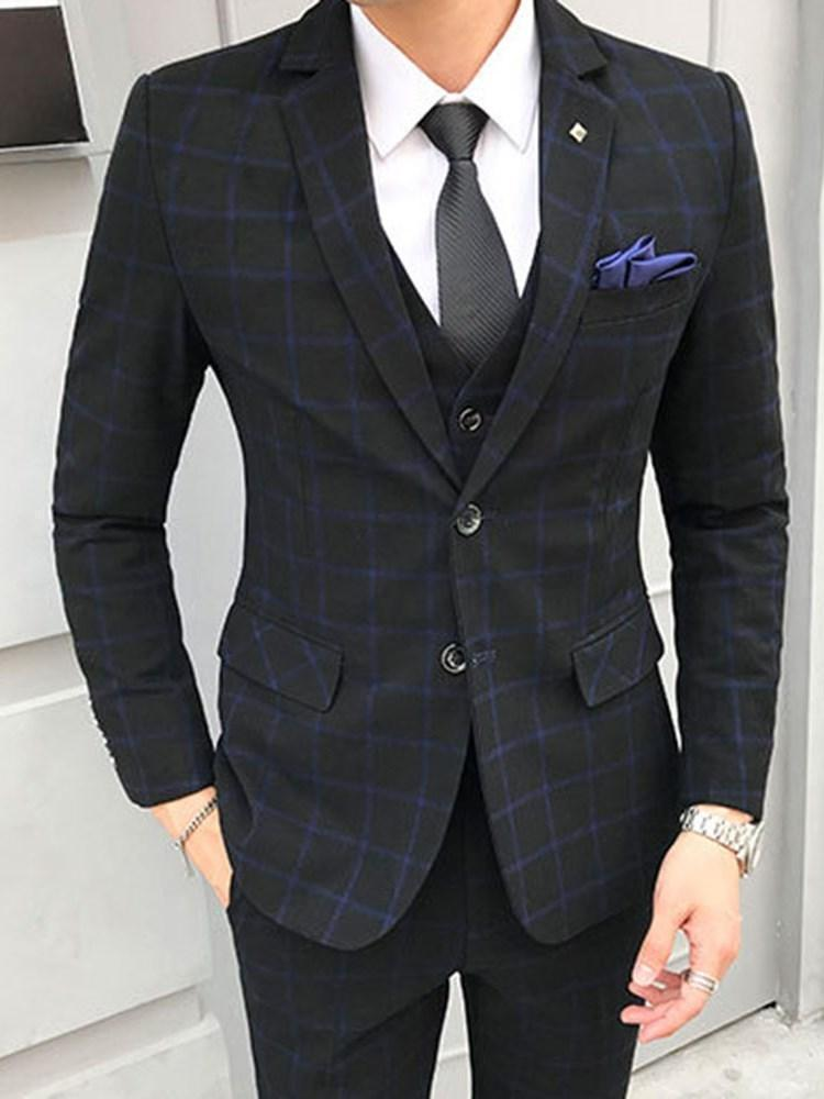 Vest Plaid Korean Dress Suit