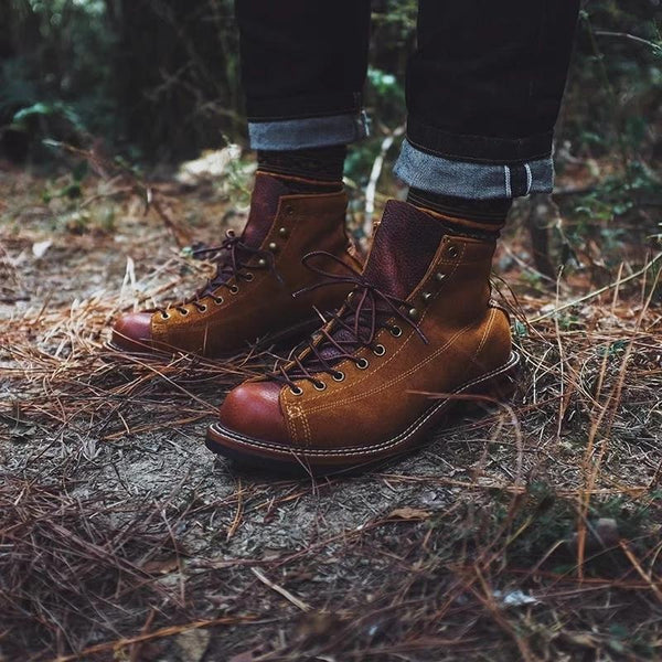 Lace-Up Front Round Toe Boots