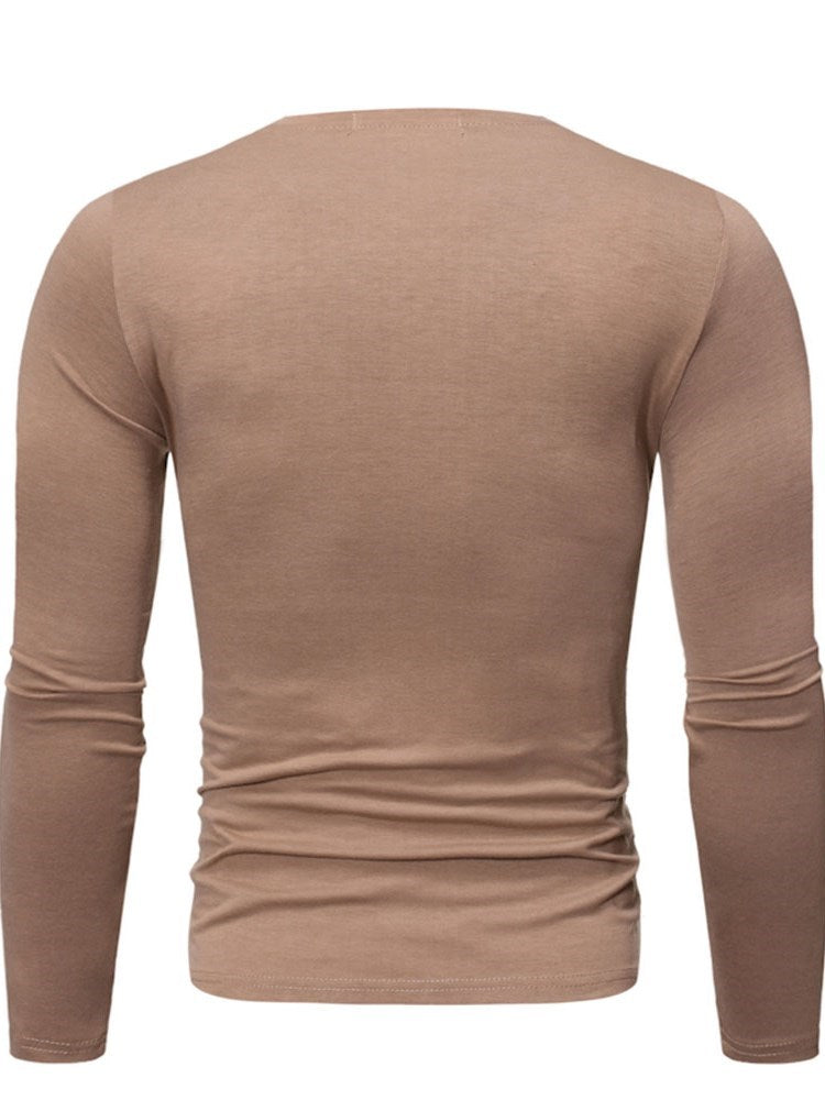 Casual Color Block Round Neck Long Sleeve Slim T-shirt