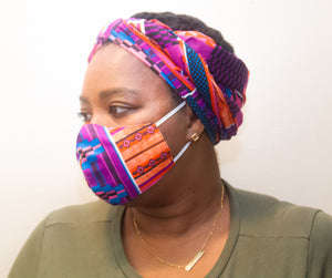 Purple & Orange African Print Face Mask & Head Wrap Set