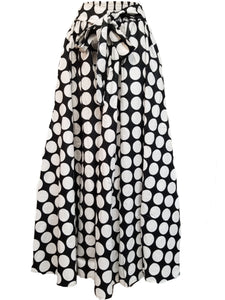 African Print Skirt- Black & White Polka Dot