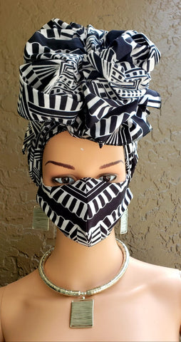 Black & White African Print Face Mask and Head Wrap Set