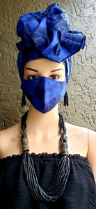 Black & Blue Kente Face Mask and Head Wrap Set