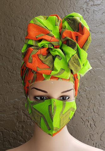 Green Orange & Yellow Abstract African Print Face Mask and Head Wrap Set