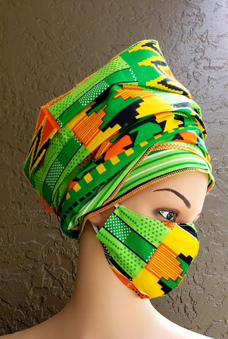 Green Orange & Yellow Kente Face Mask and Head Wrap Set