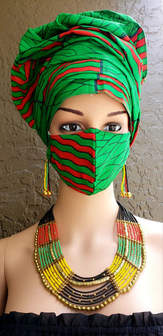 Green & Red Stripes African Print Face Mask and Head Wrap Set