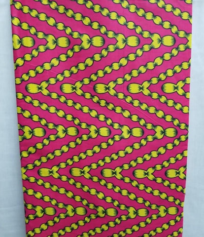 Pink & Yellow African Print Fabric