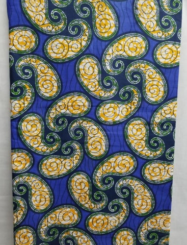 Blue, Green & Mustard Paisley Print Fabric