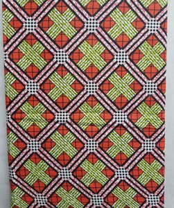 Orange, Green & Pink African Print Fabric