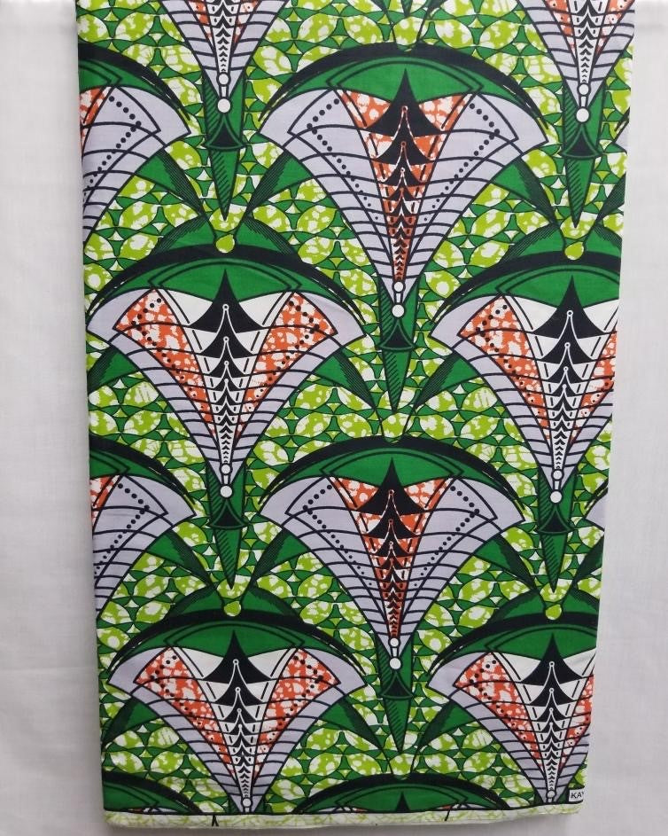 Multi Green African Print Fabric