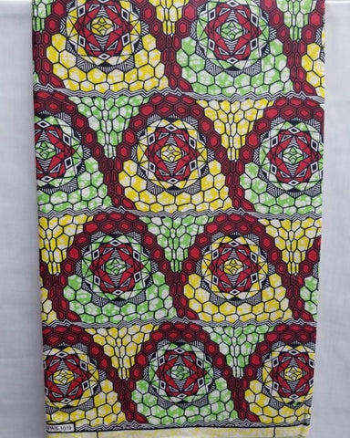 Red, Yellow, & Green African Print Fabric