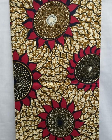 Brown & Burgundy Sun Flower African Print Fabric