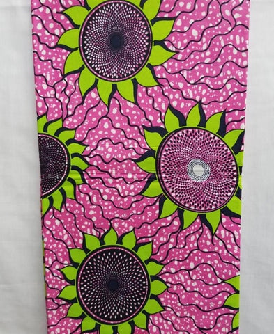 Pink & Green Sun Flower African Print Fabric