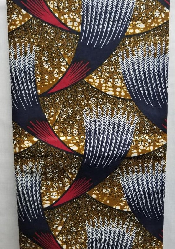 Dark Gold, Burgundy, & Navy Blue African Print Fabric