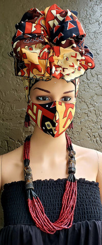 Orange, Black & Brown African Print Face Mask and Head Wrap Set