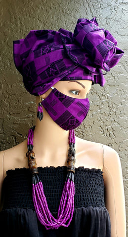 Black & Purple Kente Face Mask and Head Wrap Set