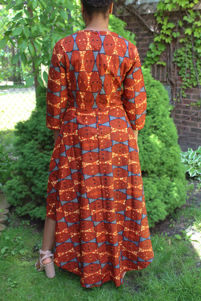 Rust Triangle Print High-Low Dress