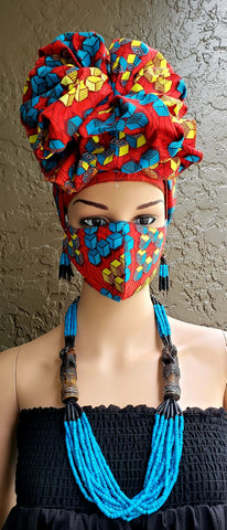 Red Yellow & Blue Cubes African Print Face Mask and Head Wrap Set