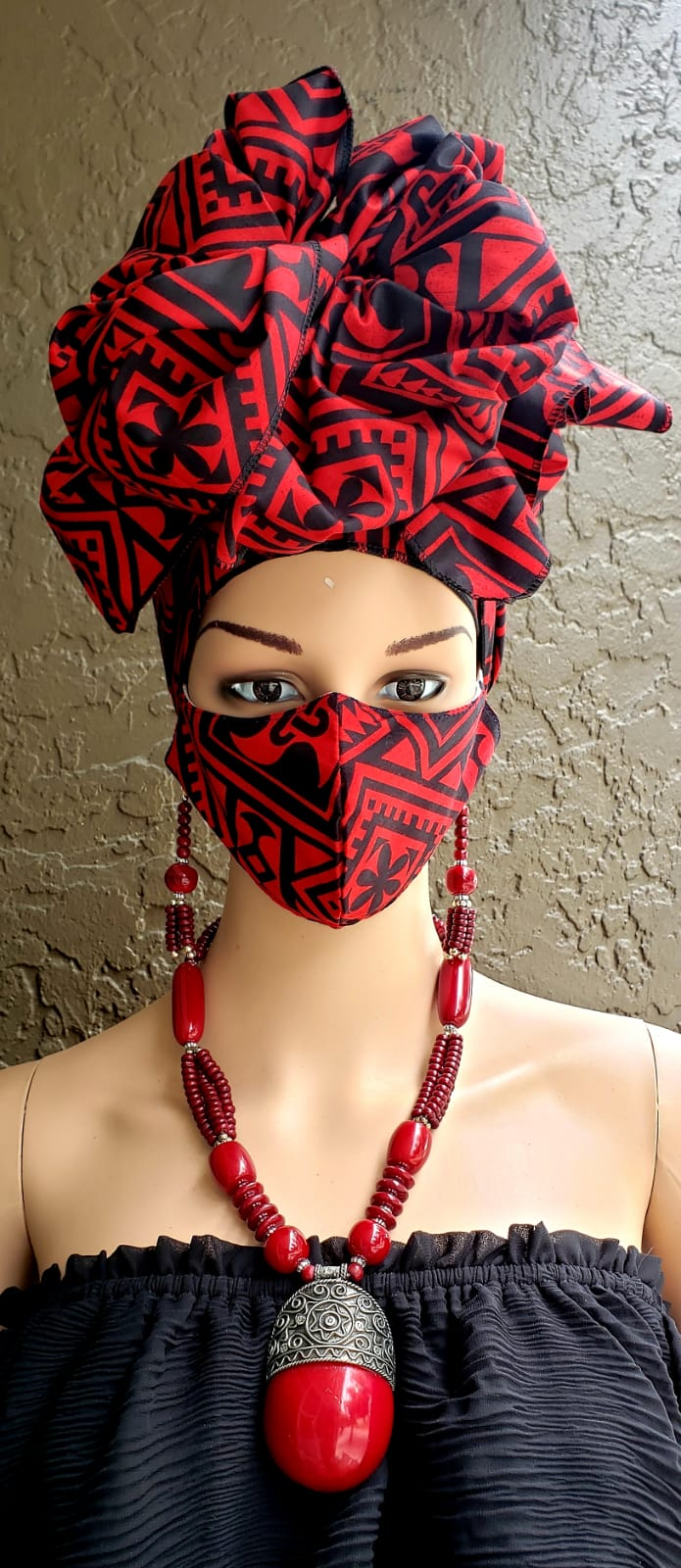 Red & Black African Print Face Mask and Head Wrap Set