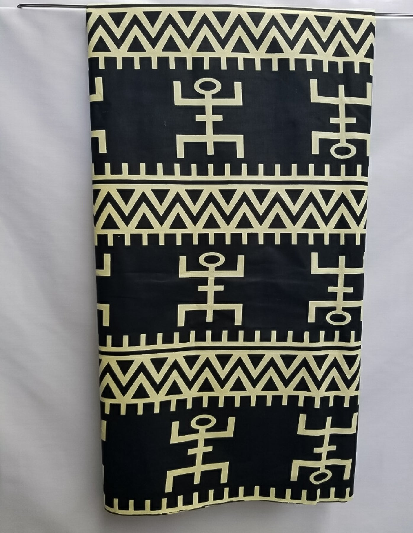 Black with Cream Design Fabric